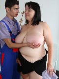 She was told to seduce the repair guy so she gives him access to her amazing fat pussy