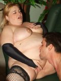 Mature fatties Rosalie and Lisa take turns in riding a cock and emptying it out with their mouths