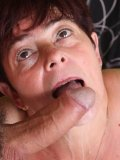 Horny mature Simone gives off a mean blowjob before she gets cock pumping in her shaved snatch